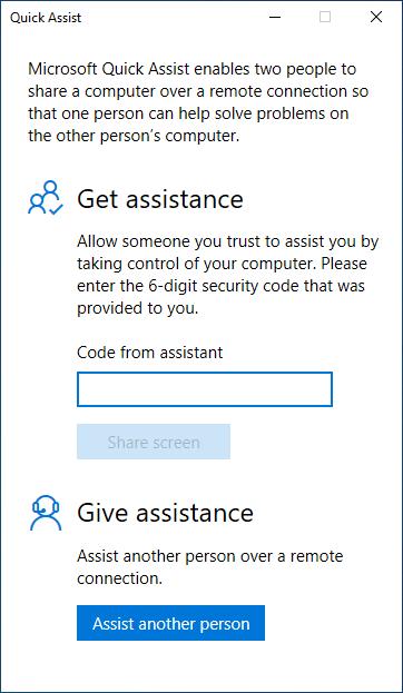 request Windows 10 remote assistance