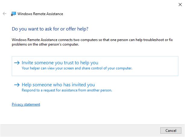 Remote assistance invitation option
