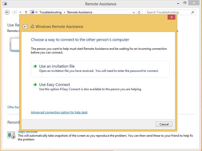remote assistance invitation in Windows 8